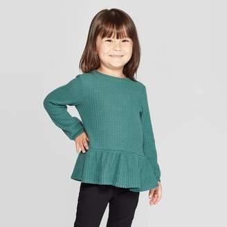 Cat & Jack Toddler Girls' Cozy Waffle Knit Henley T-Shirt Green