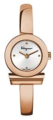 Salvatore Ferragamo Timepieces Gancino Bracelet Women's Quartz Watch with Silver Dial and Rose Gold Bangle Bracelet FQ5050014