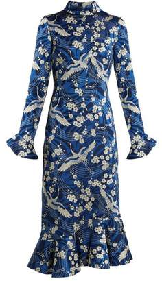 Erdem Alta Japanese Floral Print Jersey Dress - Womens - Blue White