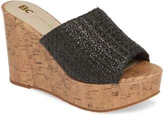 BC Footwear Perennial Wedge Raffia Slide Sandal