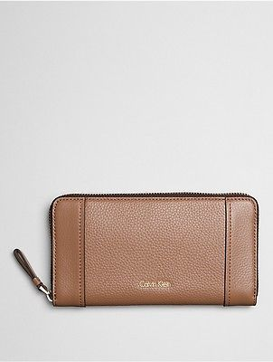 Calvin Klein Calvin Klein Womens Keyla Leather Large Zip Wallet Caramel