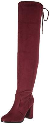 DREAM PAIRS Women's Shoo Burgundy Over The Knee High Heel Boots Size 7 M US