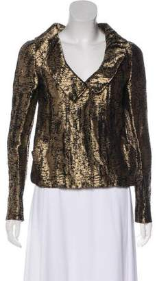 Oscar de la Renta Metallic Long Sleeve Blazer