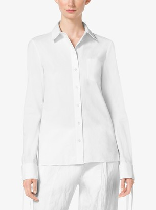 Michael Kors Tie-Cuff Cotton-Poplin Shirt