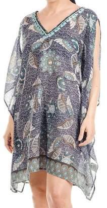 Black Slit Sleeve Printed Cotton Kaftan Top