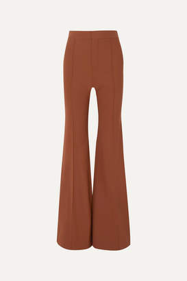 Chloé Grain De Poudre Stretch-wool Flared Pants - Camel