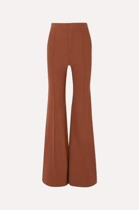 Chloé Grain De Poudre Stretch-wool Flared Pants - Camel