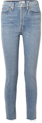 RE/DONE Originals High-rise Ankle Crop Frayed Skinny Jeans - Mid denim