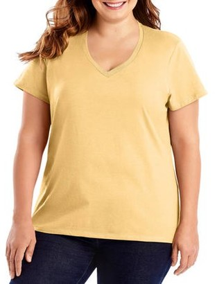 Hanes Women's Plus-Size Lightweight Short Sleeve V-neck