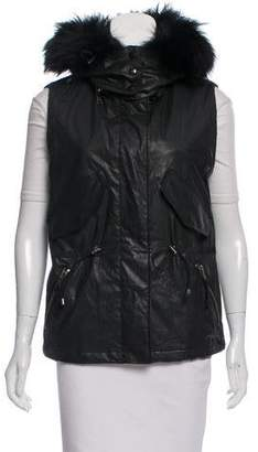 SAM. Fur-Trimmed Zip-Up Vest
