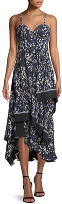 3.1 Phillip Lim Sleeveless Bra-Top Layered Painted-Dot Silk Dress w/ Ribbed Trim