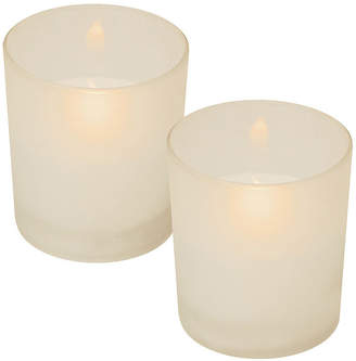 Asstd National Brand Glass LED Candles - Frosted White (Set of 2)