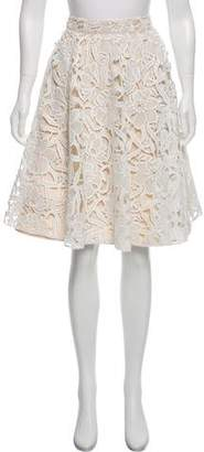 Milly Embroidered Knee-Length Skirt