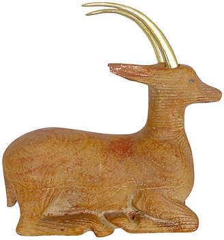 Midcentury Carved Wood & Brass Antelope