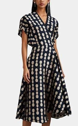 Zero Maria Cornejo Women's Aki Wave Dot-Jacquard Dress - Ink Jet, greige