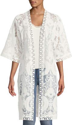 Neiman Marcus Lace Kimono Open-Front Cardigan