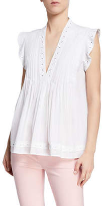 Derek Lam 10 Crosby V-Neck Sleeveless Pintucked Top w/ Grommet Detail