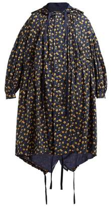 Undercover Floral Print Hooded Cotton Parka - Womens - Navy Multi