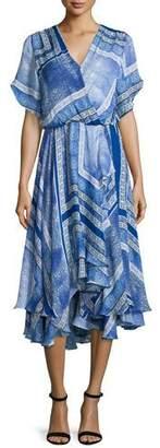 Parker Dominica Short-Sleeve V-Neck Dress, Blue Pattern $298 thestylecure.com