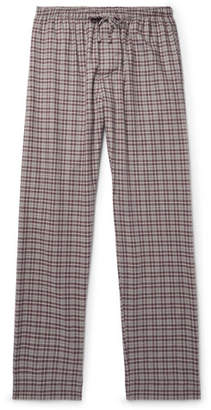 Zimmerli Checked Cotton and Wool-Blend Flannel Pyjama Trousers - Men - Burgundy