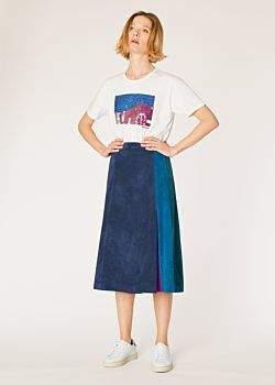 Women's Dark Navy Colour Block Suede Midi Skirt