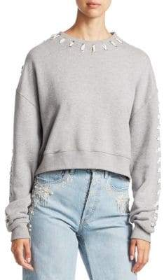 Jonathan Simkhai Whipstitch Cotton Cropped Sweatshirt