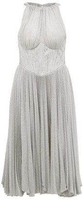 Maria Lucia Hohan Bria Halterneck Metallic Dress - Womens - Silver