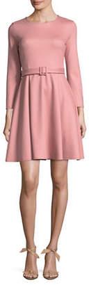 Marella Alghero Belted Wool-Blend Flare Dress