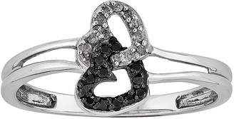 Black Diamond FINE JEWELRY 1/10 CT. T.W. White and Color-Enhanced Double-Heart Ring