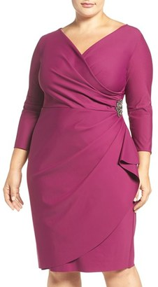 Alex Evenings Embellished Surplice Sheath Dress $229 thestylecure.com