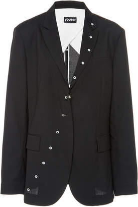 Youser Exposed Button Broadcloth Blazer