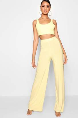 boohoo Slinky Wide Leg Trousers