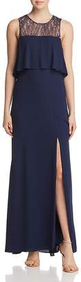 BCBGMAXAZRIA Tiered Lace-Back Gown
