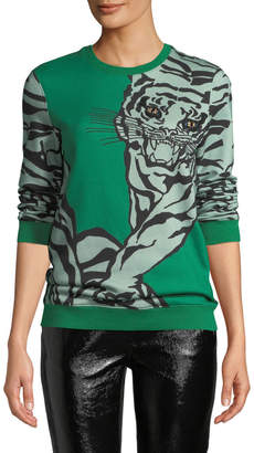 Valentino Embroidered Eyes Tiger-Print Crewneck Sweatshirt