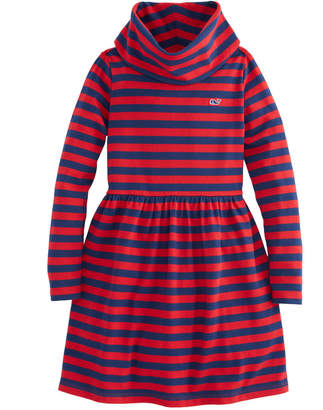 Vineyard Vines Girls Stripe Cowl Neck Dress