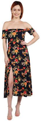 24/7 Comfort Apparel 24Seven Comfort Apparel Lindsey Strapless White Floral Empire Waist Maxi Dress - Plus