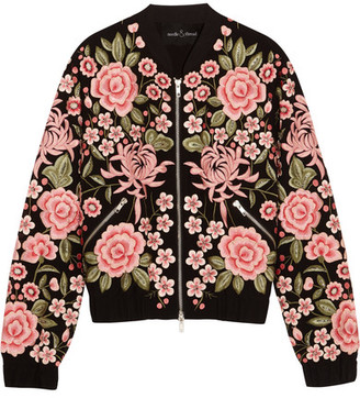 Needle & Thread - Embroidered Embellished Crepe Bomber Jacket - Black $500 thestylecure.com
