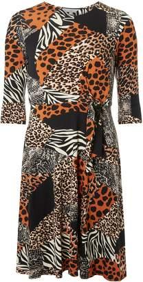 Dorothy Perkins Womens Petite Orange Animal Print Jersey Dress