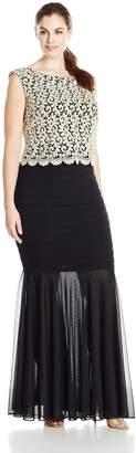 Betsy & Adam Women's Plus-Size Long Lace Popover Jersey Skirt