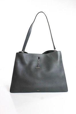 CelineCeline Gray Leather New Shoulder Handbag New $1950