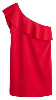 Violeta BY MANGO Asymmetrical ruffle dress