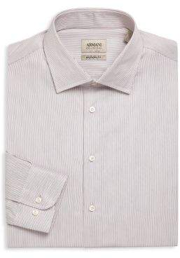 Giorgio Armani Regular Fit Pinstriped Dress Shirt