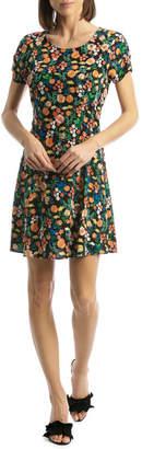 Dress Fitted Waist Flutter Sleeve