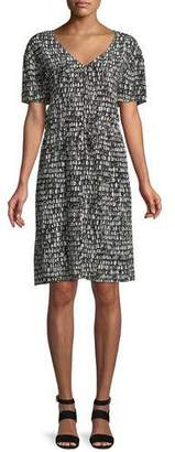 Eileen Fisher Printed Silk Drawstring-Waist Dress, Petite