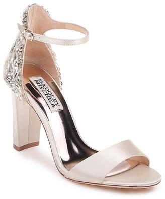 Badgley Mischka Women's Seina Embellished Satin Ankle Strap Sandals