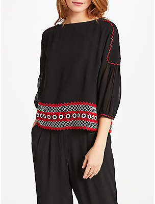 Somerset by Alice Temperley Circles Embroidery Top, Black