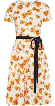 Carolina Herrera Pleated Floral-Print Stretch-Cotton Dress