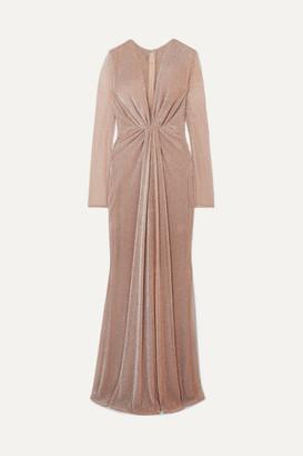 Talbot Runhof Ruched Lurex Gown - Blush