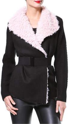Madonna & Co Plush Collar Cardigan