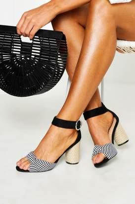 boohoo Wide Fit Stripe Espadrille Block Heels